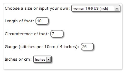 sock knitting calculator